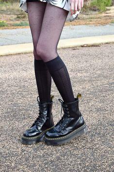 Dr Martens Jadon Boot & knee high socks & tights. nutkaic.blogspot.com.au