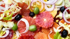 Winter is the season when many kinds of citrus fruits suddenly appear For this savory fruit salad, a mixture of navel, blood and Cara Cara oranges and a small grapefruit make a colorful display It's fine to use just one kind of orange, blood oranges being the classic example