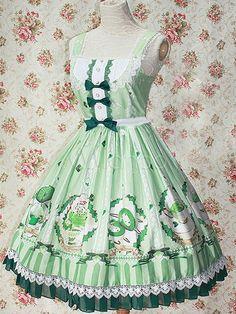 Light Green Printed Cotton Lolita Dress for Girls - Milanoo.com