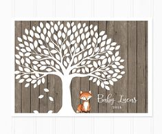 Fox Baby Shower Fox Guest Book Woodland Baby by MooseberryPaperCo