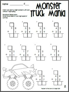 Great way to hook your boys, and the girls love it too! Monster Truck double digit addition!