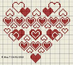 Hearts cross stitch pattern  blog coeur