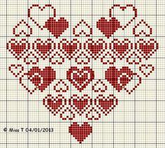 Hearts cross stitch pattern blog coeur
