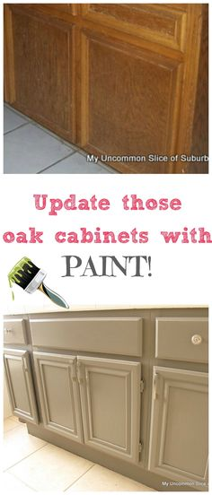 Paint those ugly oak cabinets with paint. Step by Step Tutorial