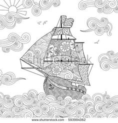 Contour image of sailing ship on the wave in zentangle inspired doodle style. Square composition. Coloring book, antistress page for adult and children. Vector illustration.