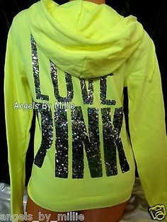 Victoria's Secret Pink Hoodie Small s Neon Yellow Bling Funnel Neck Perfect Zip | eBay