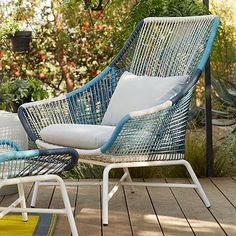 """Huron Large Lounge Chair – Blue/Cement #westelm 39.5""""w x 35.8""""d x 42""""h With ottoman"""