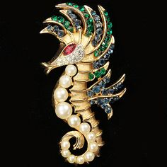 Trifari 'Alfred Philippe' Gold Ruby Sapphire Emeralds and Pearls Seahorse Pin