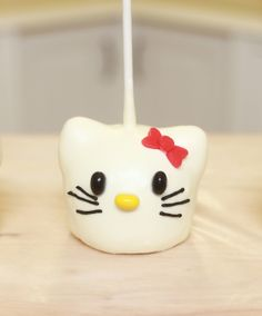 Hello Kitty Caramel Apple dipped in white chocolate! (=^.^=)