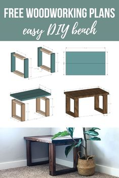 Want to learn how to build a DIY bench? Watch this video and grab the free wood bench plans so you can make your own small entryway bench. #bench #DIY #woodenbench #plans
