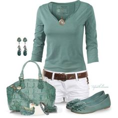 Love the henley, the bag is cute. Dislike the earrings, shoes, and other jewelry. Don't wear shorts.
