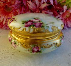 Antique T V Limoges Porcelain Hand Painted Powder Jar Box Roses Beading Gold | eBay