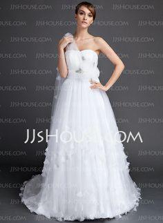 Wedding Dresses - $176.99 - A-Line/Princess One-Shoulder Watteau Train Tulle Wedding Dress With Ruffle Flower(s) (002015841) http://jjshouse.com/A-Line-Princess-One-Shoulder-Watteau-Train-Tulle-Wedding-Dress-With-Ruffle-Flower-S-002015841-g15841