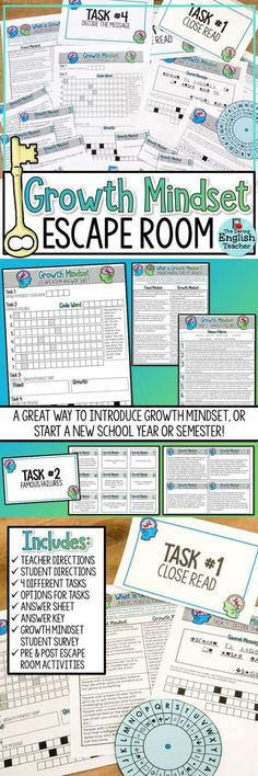 Create a growth mindset in your classroom with a Growth Mindset Escape Room Activity. Students will complete four tasks as they learn about growth mindset.
