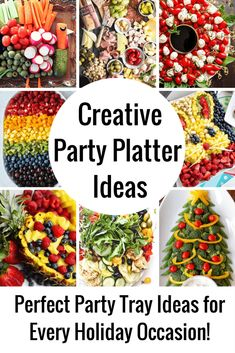These party platter ideas will blow your mind! Not your average Veggie Tray or F… These party platter ideas will blow your mind! Not your average Veggie Tray or Fruit Tray! Learn how to create themed vegetable and fruit trays for your holiday party! Party Platters, Veggie Platters, Party Trays, Food Trays, Cheese Platters, Fruit Trays, Fruit Dips, Fruit Salad, Watermelon Fruit