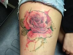 Watercolor rose tattoo done by,. Myke Clifton at Epic Ink in Auburn, IN