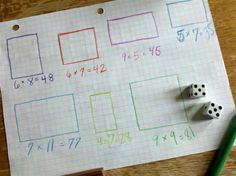Math Game - Lots of Boxes - Multiplication Game with Dice, Graph Paper and Colored Pencils: How great for Reviewing