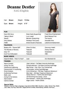 Acting Resume Beginner Simple Rosie Tupper  Models  Pinterest