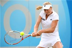 Ekaterina Makarova of Russia hits a return during day four of the AEGON Classic at Edgbaston Priory Club on June 14, 2012 in Birmingham, England.