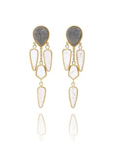 Composed of shimmering Brazil-imported Drusy and Rock Quartz with unique dusty inclusion, the drop earring is like a beautiful nebula in galaxy. The chandelier earring structure, with yellow gold plating and matt needle finishing, further adds a sophistated and romantic touch.Ear studs made in 925 sterling silver.