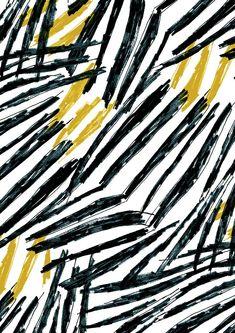 Pattern by Minakani / Print / Black & White / Simple / Minimalistic / Art / Design / Texture / Yellow