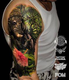 Elephant by @ilya_fom_43 in Kazan Tatarstan. #elephant #flower #ilya_fom_43 #ilyafom43 #kazan #tatarstan #russia #tattoo #tattoos #tattoosnob