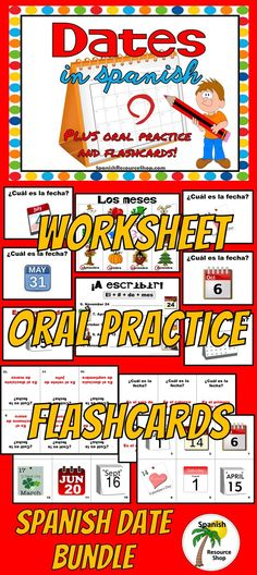 Teaching how to tell the dates in Spanish is easy with this oral practice PowerPoint that comes with worksheets and flashcards for extra student practice!