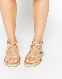 Enlarge Pieces Exclusive Multi Strap Leather Flat Sandals
