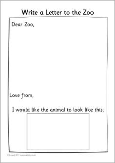Dear Zoo writing frames - SparkleBox More Dear Zoo Activities, Eyfs Activities, Writing Activities, Animal Activities, Vocabulary Activities, Preschool Worksheets, Talk 4 Writing, Writing Area, Letter Writing