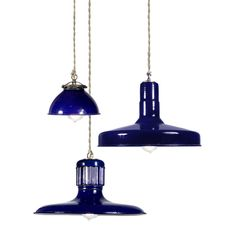 Blue, Blue, Blue! Need these industial schoolhouse pendant lamps for the kitchen