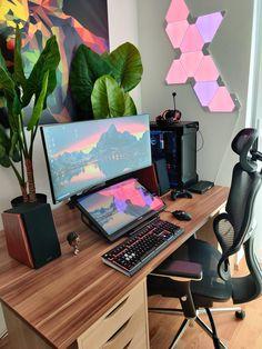 Built my wife a place to play and draw Gaming Room Setup, Computer Setup, Pc Setup, Desk Setup, Home Office Setup, Workspace Inspiration, Flat Ideas, Home Desk, Studio Setup