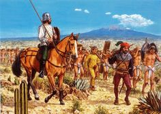 Hernán Cortés and the conquistadores march on Mexico, with their Tlaxcaltecas…