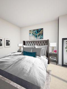 Ashley and Sam's Masculine Glam Bedroom eDesign - Arie + Co. Best Interior Design, Interior Design Inspiration, Home Decor Inspiration, Grey Upholstered Bed, Glam Bedroom, Decorating Blogs, E Design, Home Furnishings, Decor Styles