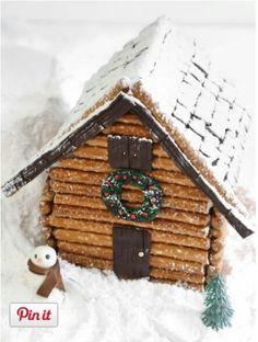 Gingerbread House Pretzel Rod Log Cabin