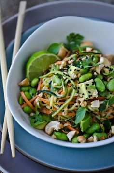Ingredients:        2 medium zucchini      1 carrot      1 cup edamame, shelled      ¼ cup chopped cashews      ½ avocado, cubed      1 tablespoon black sesame seeds      ½ cup assorted herbs (mint, basil, cilantro)      1 tablespoon peanut butter      1 tablespoon lime juice      ½ tablespoon honey      1 teaspoon sesame oil      1 clove garlic, minced      1 teaspoon garlic chili paste