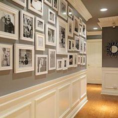 Jenn Feldman Designs - entrances/foyers - foyer, hall, hallway, foyer hall, foyer hallway, dark gray walls, wainscoting, hall wainscoting, h...