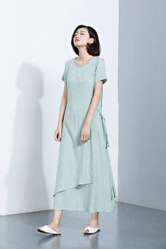 Maxi Linen DressBandage DressRound Collar DressLayered