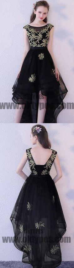 High Low Black Prom Dresses, Appliques Prom Dresses, Backless Prom Dresses, Scoop Prom Dresses, TYP0307 #promdresses