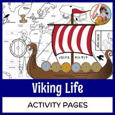 Vikings - Viking Life Activity Pages Students complete up to fifteen engaging activities to learn and show what they know about the exciting life of Vikings! Topics include Viking vocabulary, travels, clothes, men, women, society, children, longhouses, longships, death (burial, Valhalla, and Valkyries), runes, Thor's hammer, weaponry, and more. #VikingActivities #VikingLessons #VikingKidsCrafts