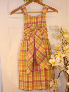 Girls Bonnie Jean Multicolored checked dress w/tie in front &back Sz8 #BonnieJean #kids clothes Starting Price $7.85