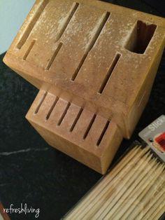 Antes: Portacuchillos de madera (¡otra vez!)
