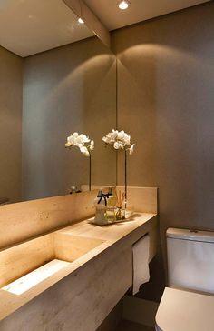 Bathroom sink carved in Roman Travertine marble Travertine Bathroom, Bathroom Showrooms, Simple House Design, Bathroom Design Inspiration, Bathroom Design Luxury, Toilet Design, Vanity Decor, Shower Remodel, Small Bathroom