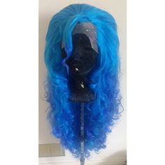 Felicia Darkstalkers Cosplay wig Made to order (£265) ❤ liked on Polyvore featuring costumes, blue halloween costumes, blue costumes, blue wig costume, cosplay costumes and cosplay halloween costumes
