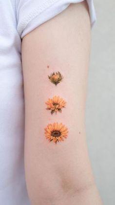 Friend Tattoos Small, Small Back Tattoos, Small Flower Tattoos, Little Tattoos, Mini Tattoos, Yellow Flower Tattoos, Boho Tattoos, Mommy Tattoos, Body Art Tattoos