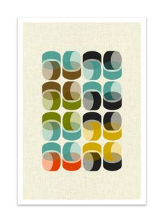 EXPO 1 - Giclee Print - Mid Century Modern Danish Modern Minimalist Cubist Modernist Eames Abstract. $24.00, via Etsy.