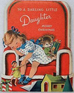 Girl tuckered out on chair vintage card
