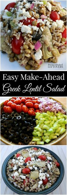 Quick and Easy Prep-Ahead Greek Lentil and Rice Salad Recipe. Easy salad packed with protein-rich lentils and vegetables. Perfect meal prep lunch recipe. This vegetarian salad is also perfect for a Meatless Mondy Meal.