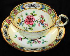 AYNSLEY ROYAL ENGLAND  BLACK BIRD ART DECO FLORET TEA CUP AND SAUCER