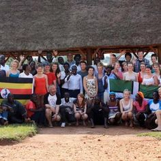 North Devon students with kira students outside the banda.