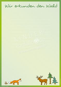 """Kindergarten Portfolio Vorlagen """"Wir erkunden den Wald"""""""